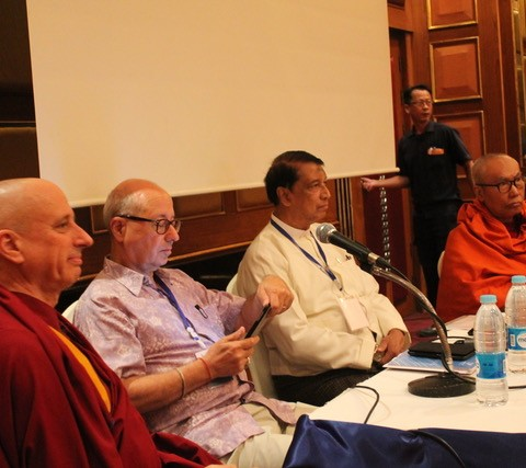 Preparation and discussion for the Festival's Interfaith-dialogue, discussing the Rohingya crisis. Featuring Al Haj Aye Twin, Michael Vatikiotis, Buddhist abbott Nicky Vreeland, and principal U Nayaka.